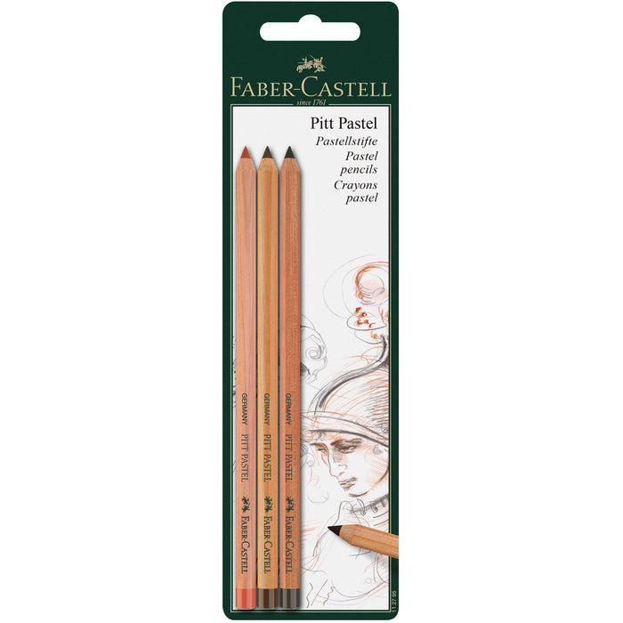 PITT Pastel Pencils Blister of 3 Sanguine Sepia Light Sepia Dark