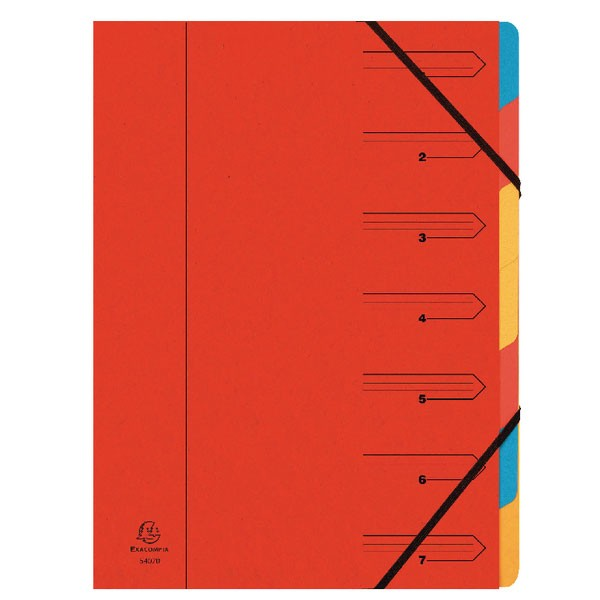 Exacompta Europa 7-Part Organiser  A4 Red 5221Z