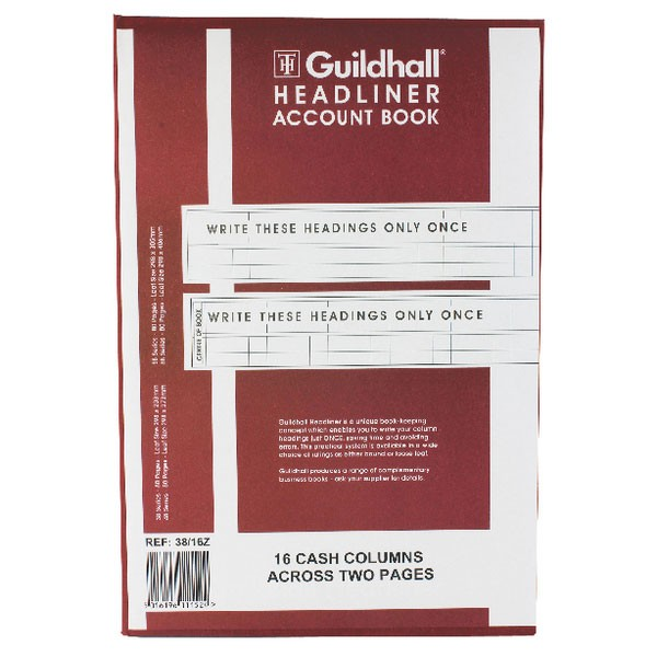 Exacompta Guildhall Headliner 16 Column Account Book 38/16 1152