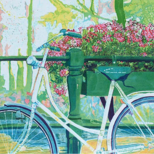 Caryl Challis - White Bike, Pink Geraniums