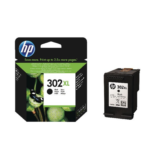 HP 302XL Black Ink Cartridge (High Yield, 480 Page Capacity) F6U68AE