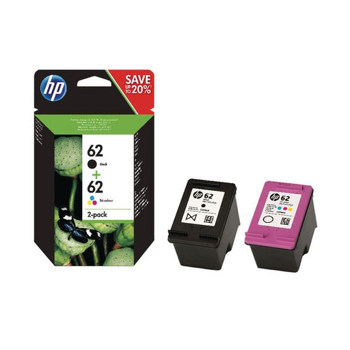 HP 62 Black /Colour Ink Cartridges (Pack of 2) N9J71AE