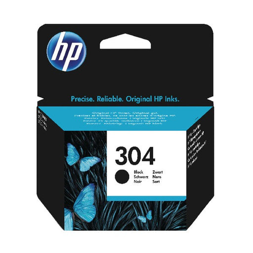 HP 304 Black Ink Cartridge (Standard Yield, 4ml, 120 Page Capacity) N9K06AE