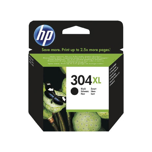 HP 304XL Black Ink Cartridge (High Yield, 300 Page Capacity) N9K08AE