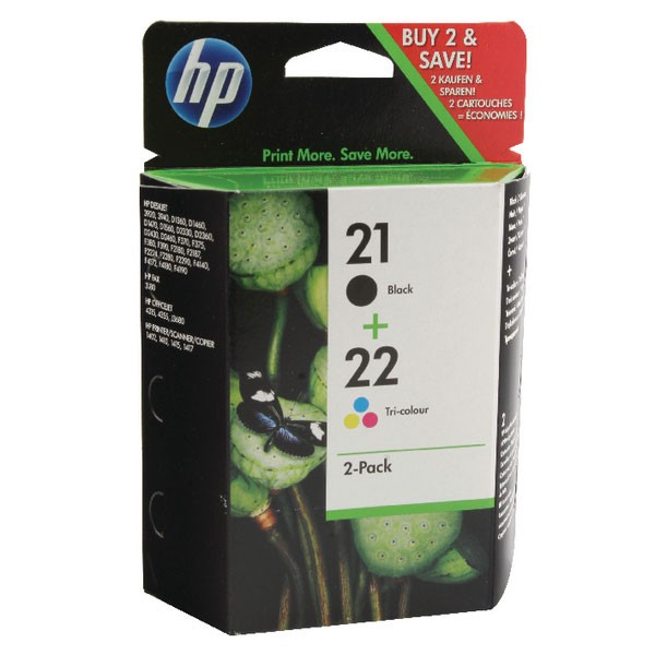 HP 21/22 Black /Cyan/Magenta/Yellow Ink Cartridges (Pack of 2) SD367AE