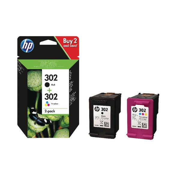 HP 302 Black and Colour Ink Cartridges (Pack of 2) X4D37AE