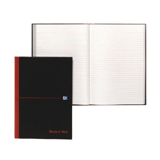 Black n' Red Feint Ruled Casebound Hardback Notebook Ruled A4 100080446
