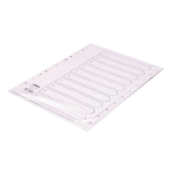 Concord Index 1-10 A4 Polypropylene White 64101