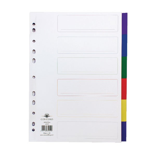 Concord Divider 6-Part A4 Polypropylene Multicoloured 65899