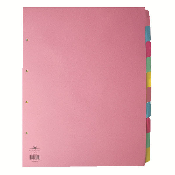 Concord Divider 10-Part A3 Portrait Pastel Colours 70299/J2