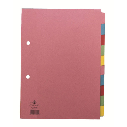 Concord Divider 10-Part A5 160gsm Pastel Colours 72199