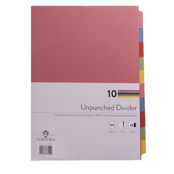 Concord Unpunched Divider 10-Part A4 Multicoloured 76099