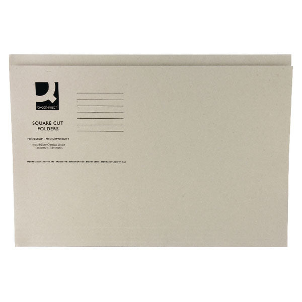 Q-Connect Square Cut Folder Mediumweight 250gsm Foolscap Buff KF01190