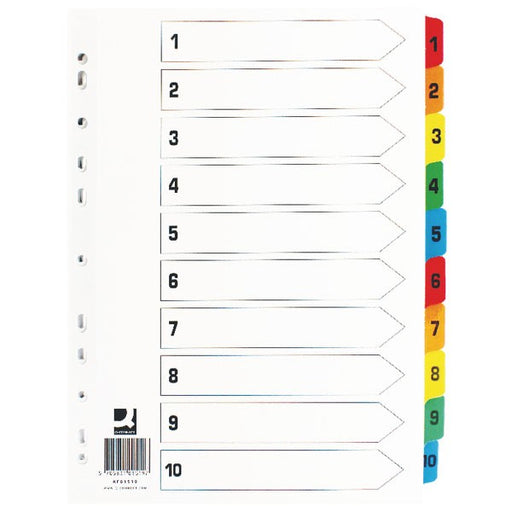 Q-Connect 1-10 Index Multi-punched Reinforced Board Multi-Colour Numbered Tabs A4 White KF01519