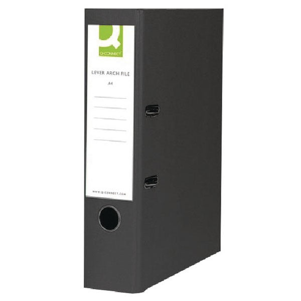 Q-Connect 70mm Lever Arch File Polypropylene Foolscap Black KF20025