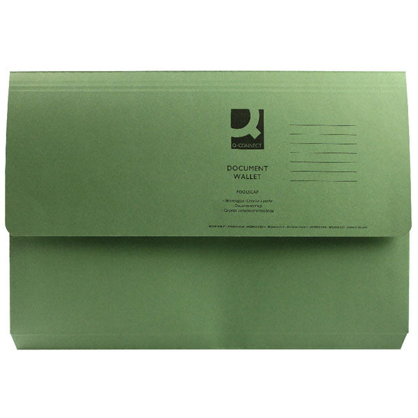 Q-Connect Document Wallet Foolscap Green KF23012