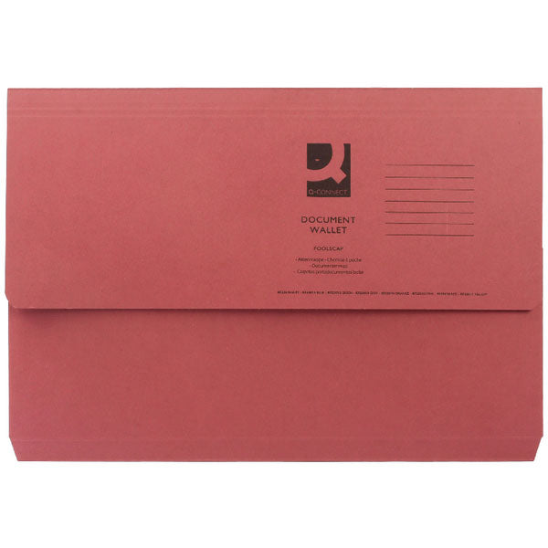 Q-Connect Document Wallet Foolscap Red KF23016