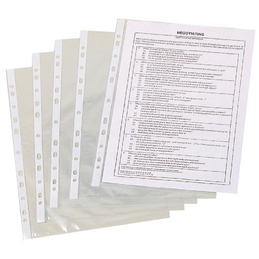 Q-Connect Punched Pockets Polypropylene 50 Micron A4 Clear KF24001