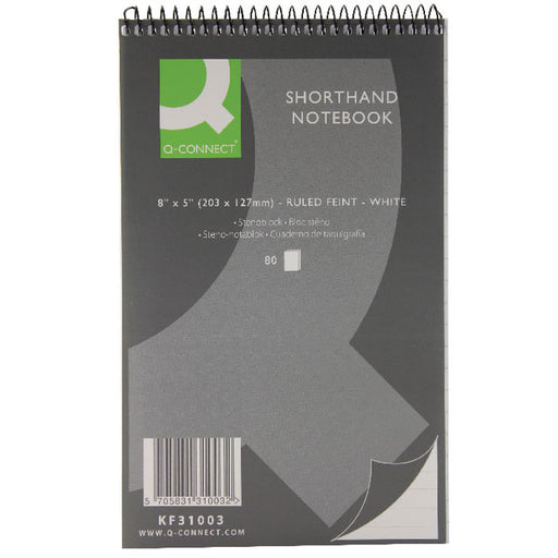 Q-Connect Feint Ruled Shorthand Notebook 160 Pages 203x127mm KF31003