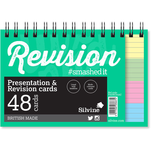 Silvine Student Revision Cards Wirebound Colours