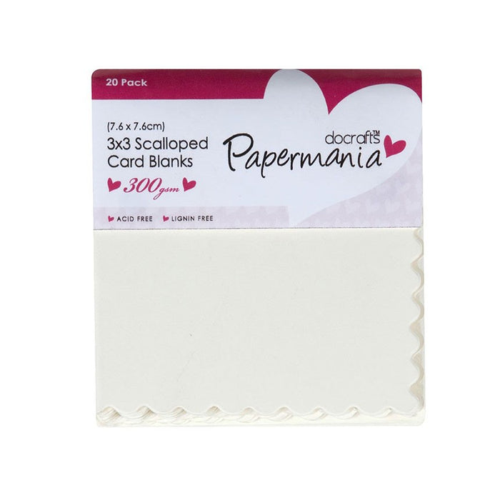 3x3 Cards/Envelopes Scalloped (20pk 300gsm) - Cream