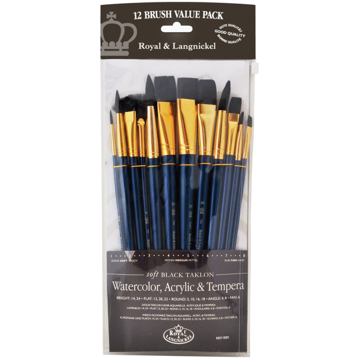 12 Brushes Black Taklon Flat Variety S