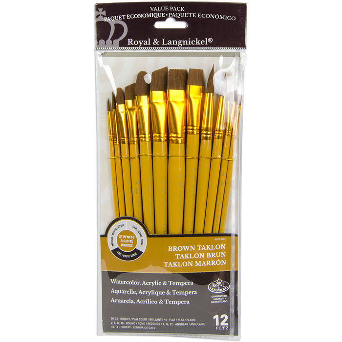 12 Brushes Brown Taklon Round Variety