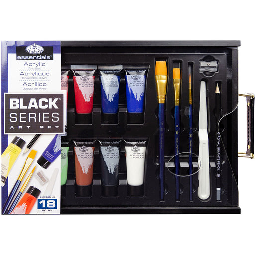 Acrylic Painting Starter set of paints and accessories from Royal and Landnickel. Everything you need to start acrylic painting and a lovely black wooden case with palette which acts as a lid.