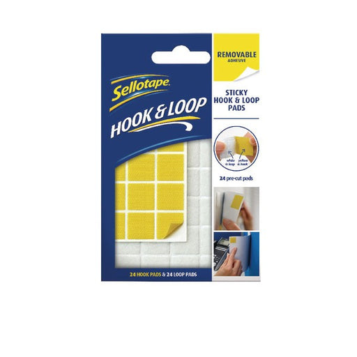 Sellotape Sticky Hook and Loop Pads Removable 2055468