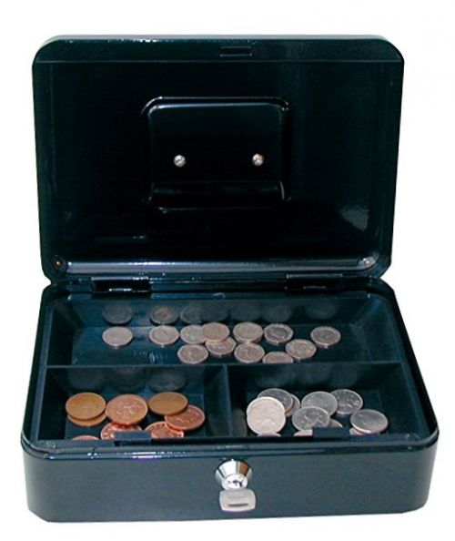 Value 25cm (10 Inch) Key Lock Metal Cash Box Black