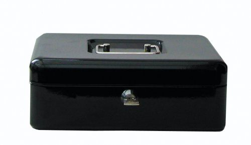 Value 30cm (12 Inch) Key Lock Metal Cash Box Black