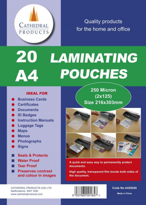 Laminating Pouch A4 250Micron Pack 20