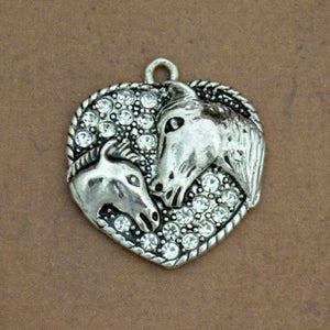 Crystal Horse and Foal Heart Western Charm for Bracelets & Necklaces