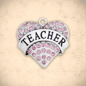 Occupations- Crystal Teacher Heart Charm