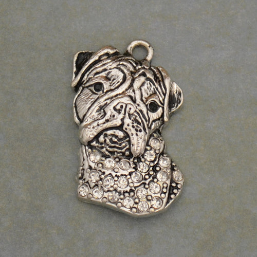 Pet Lover - Bulldog Crystal Charm
