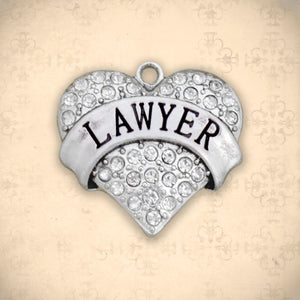 Occupations- Crystal Lawyer Heart Charm