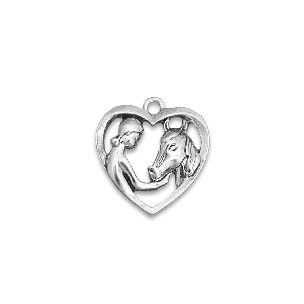Girl & Horse Heart Western Accent Charm for Bracelets & Necklaces