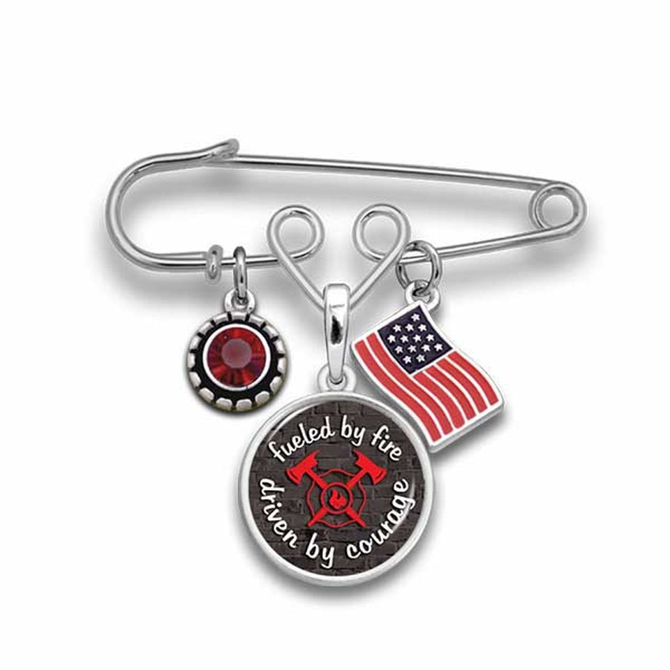 Firefighter Fueled By Fire Brooch Pin