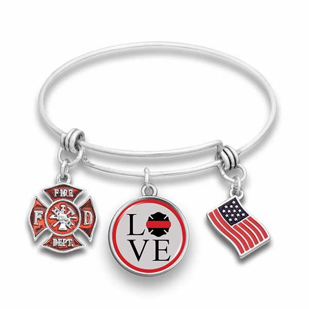 Firefighter Love Shield Wire Bangle Bracelet