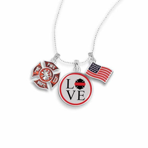 Firefighter Love Charm Necklace