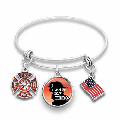 Married My Fireman Hero Wire Bangle Bracelet