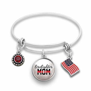 Firefighter Mom Wire Bangle Bracelet