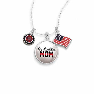 Firefighter Triple Charm Necklace for Mom