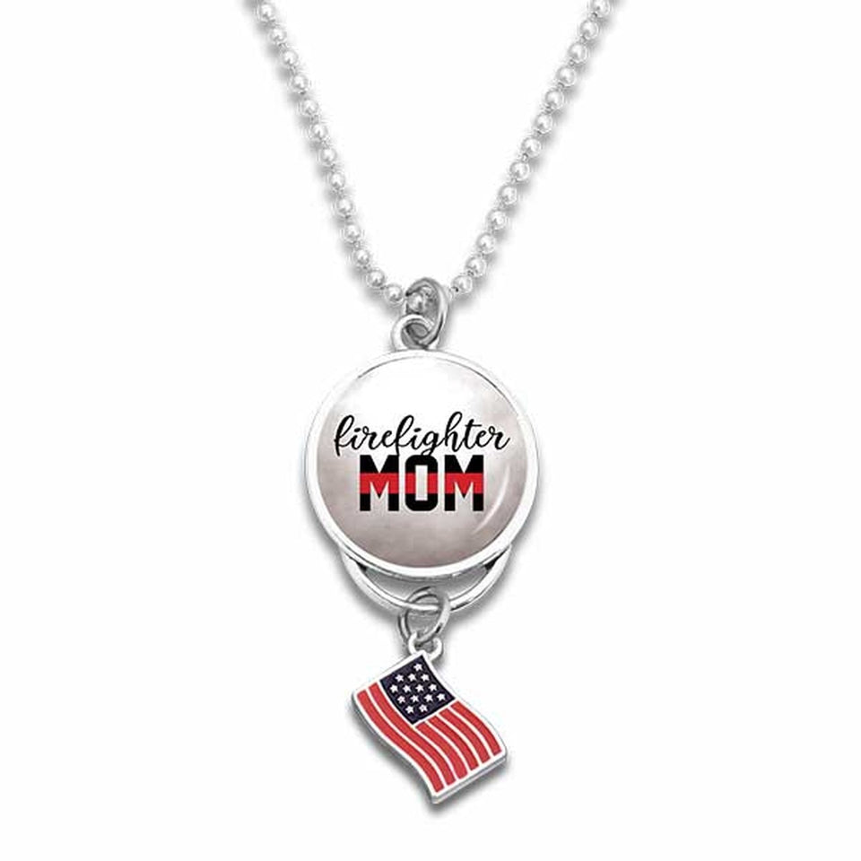 Firefighter Round Charm with flag for Mom