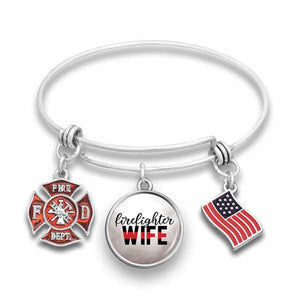 Firefighter Wire Bangle Bracelet for Wife