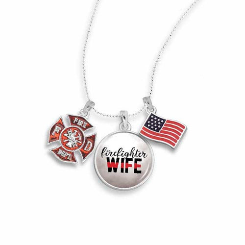Firefighter Triple Charm Necklace for Wife
