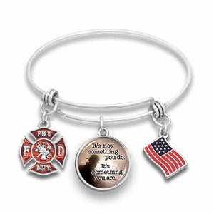 Something Firefighters Are Wire Bangle Bracelet