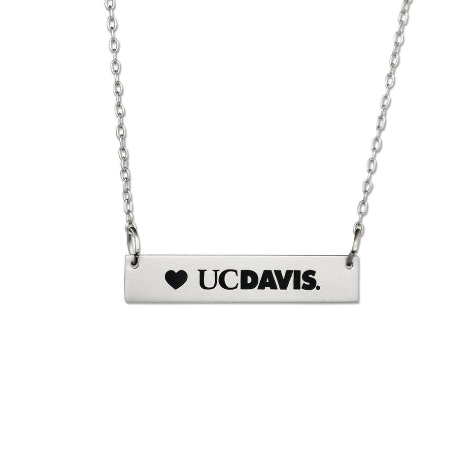 UC Davis Silver Bar Necklace