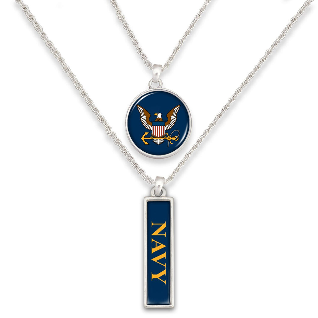 U.S. Navy Double Down Round Charm Necklace