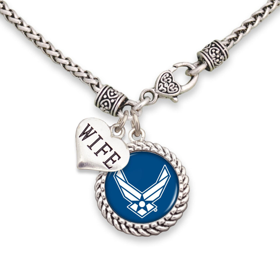 U.S. Air Force Choose Your Family Relationship Accent Charm Braided Necklace for Wife